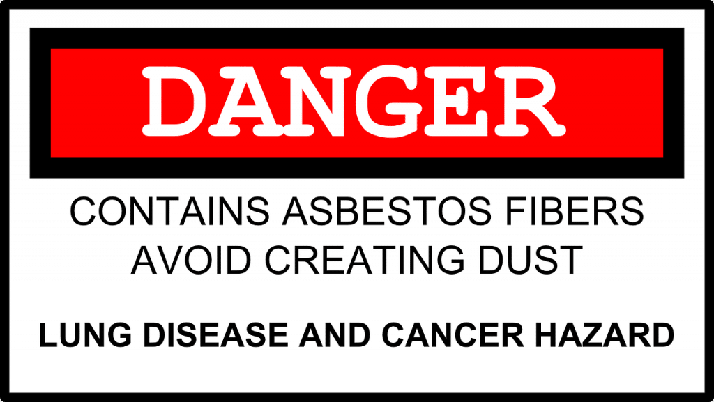 Danger - Contains Asbestos Fibers Avoid Creating Dust - Lung Disease and Cancer Hazard