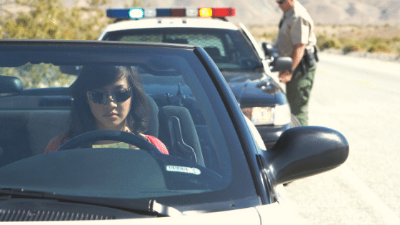 Woman pulled over by a police officer