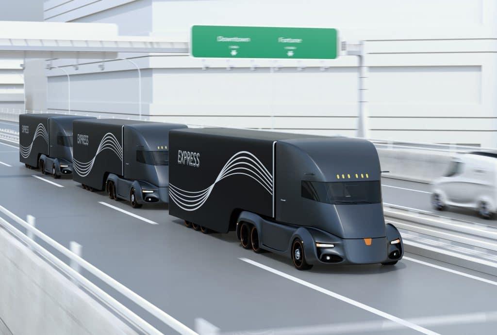 Image of driverless semi-trucks on the highway